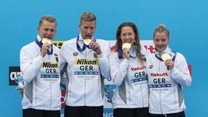 Sport kompakt: Das DSV-Quartett feiert die Goldmedaille in Südkorea