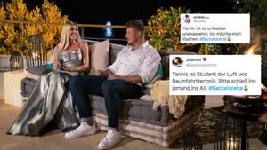 """Die """"Bachelorette"""" Gerda Lewis sitzt mit Kandidaten Yannic auf der Couch."""