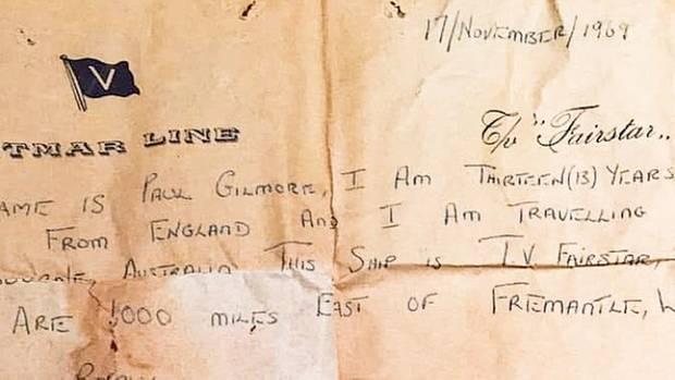 Abdruck des Briefes, der als Flaschenpost in Australien angespült wurde