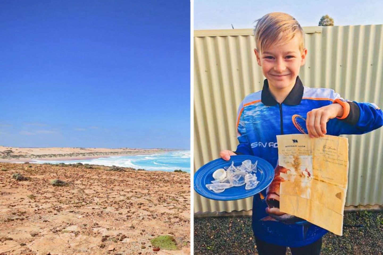 Am Talia Beach in Australien fand Jyah Elliott die 50 Jahre alte Flaschenpost