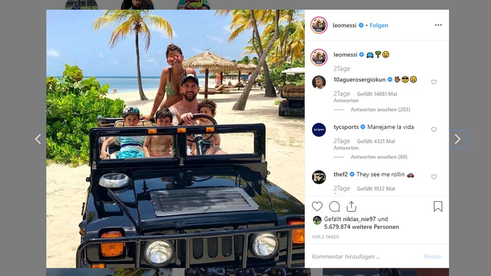 Fußballer Lionel Messi entspannt derzeit mit seiner Familie, andere Stars sonnen sich ebenfalls am sonnigen Karibikstrand.