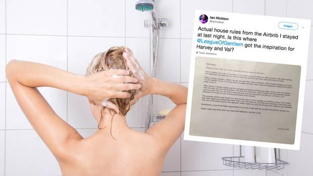 Auf Twitter hat ein Mann die dreisten Badezimmer-Regelnaus seinem Airbnb gepostet