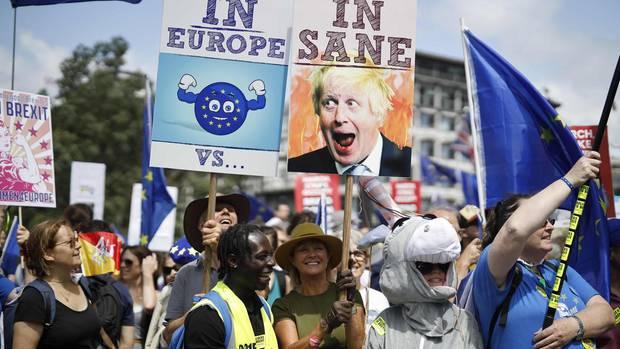 Teilnehmer der Demonstration gegen Boris Johnson am Samstag in London