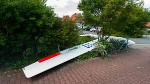 Abgestürztes Segelflugzeug