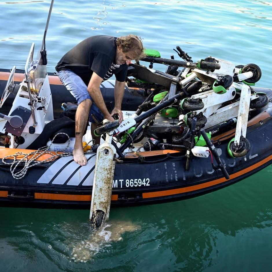 Trend in Marseille: Kinder werfen E-Scooter in Hafenbecken – giftige Akkus werden zur Gefahr für die Umwelt