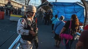 Grenzübergang in dieUSA in der mexikanischen Stadt Ciudad Juárez