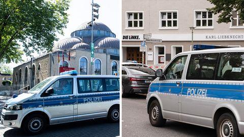 Ditib-Merkez-Moschee in Dusiburg und Parteizentrale der Linken in Berlin nach den Bombendrohungen