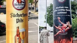 Werbung für die Brauerei Füchschen auf zwei Litfaßsäulen. Das rechte Motiv ist inzwischen verschwunden.