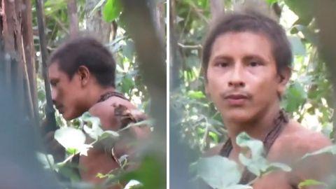 Ein Mitglied des bisher noch nicht kontaktierten Awá-Stammes.