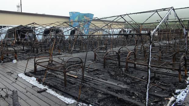 Ein Foto der russischen Behörden zeigt die ausgebrannten Zelte