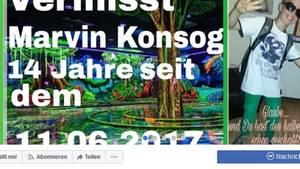 Mit dieser Facebookseite sucht die Mutter von Marvin Konsog nach ihrem Sohn