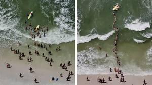 Menschenkette rettet Schwimmer