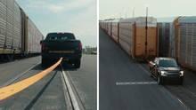 Elektroauto zieht zehn Eisenbahnwaggons