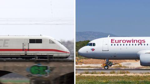 Ein ICE der Deutschen Bahn, ein Flugzeug von Eurowings – Ministerien setzen weiter auf Inlandsflüge