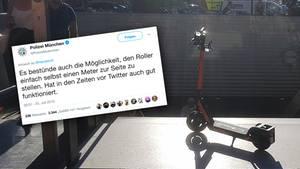 E-Scooter falsch geparkt: So witzig reagiert die Münchner Polizei auf diesen Tweet