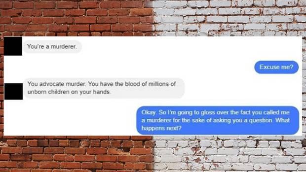 Screenshot der Unterhaltung über Abtreibung