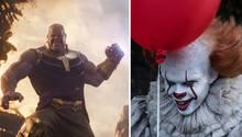 Thanos aus Avengers: Endgame und Pennywise aus Es sind in einer Kollage zu sehen