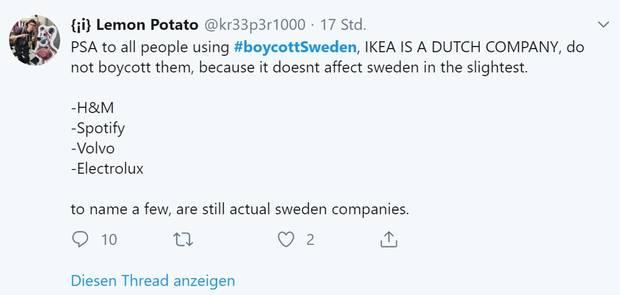 Auf Twitter behauptet ein Trump-Fan IKEA sei ein niederländisches Unternehmen