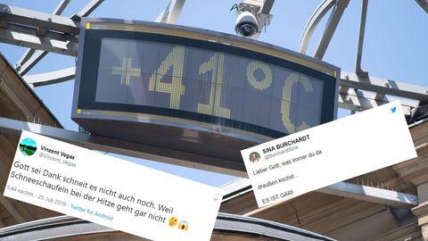 Eine Anzeige in Stuttgart zeigt eine Temperatur von 41 Grad