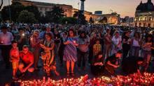 In Bukarest demonstrierten die Menschen am Samstagabend vor dem Innenministerium