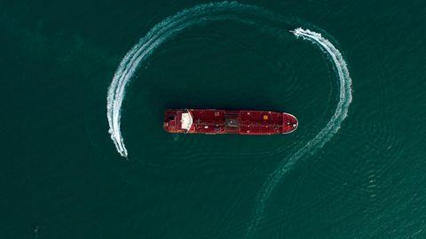 """Der britische Öltanker """"Stena Impero"""" in der Straße von Hormus"""