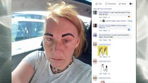 Colline mit pechschwarzen Augenbrauen, sie sieht sehr unglücklich aus