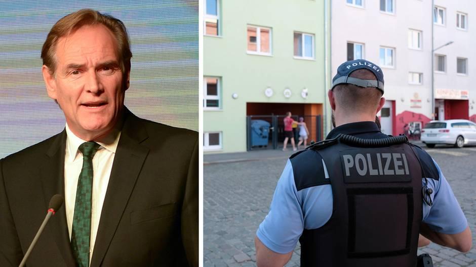 Leipzigs Oberbürgermeister Burkhard Jung, ein Polizist vor der Kindertagesstätte, die auf Schweinefleisch verzichten wollte