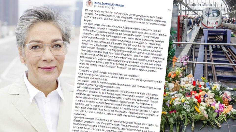 VerlegerinKarin Schmid-Friderichs; Facebook-Post; niedergelegte Blumen am Frankfurter Hauptbahnhof