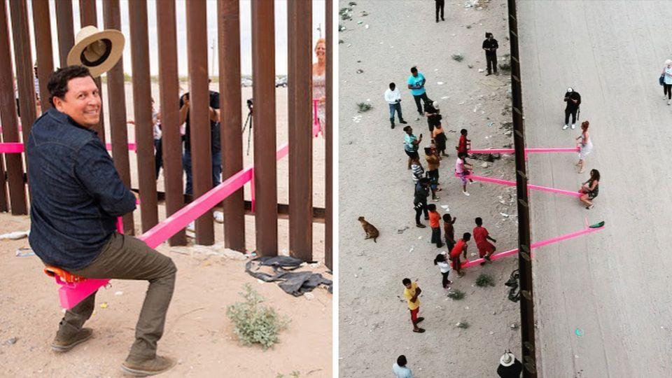 Ein Kunstprojekt verwandelt diesen Abschnitt der US-mexikanischen Grenze für kurze Zeit in einen Spielplatz.