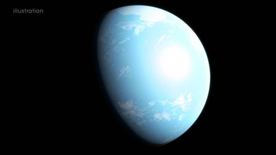 Visualisierung des möglicherweise bewohnbaren Planeten GJ 357 d außerhalb des Sonnensystems.