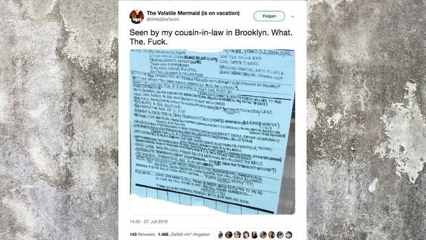 Dieses Foto der Anzeige wurde auf Twitter verbreitet