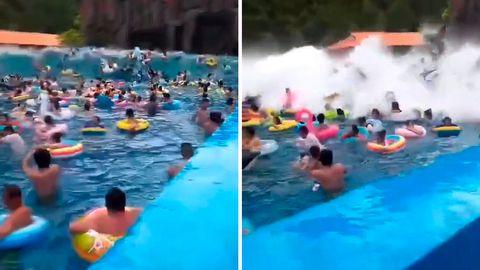 Badegäste werden in Wellenbad von Riesenwelle erfasst.