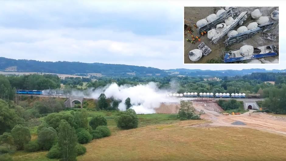 Tschechien: Drohne filmt Zugentgleisung auf Brücke – Millionenschaden