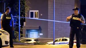 Polizisten am Tatort in Zagreb