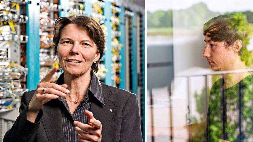 Claudia Eckert (l.) erforscht die digitale Sicherheit von Unternehmen, Michael Cyl testet sie