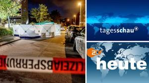 """Tatort in Stuttgart; Logo der ARD-""""Tagesschau""""; Logo von ZDF-""""Heute"""""""