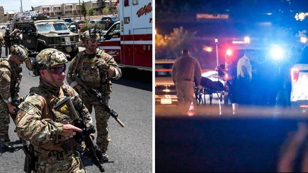 Links: Polizeikräfte in El Paso. Rechts: Ein Todesopfer der Schießerei in Dayton wird abtransportiert
