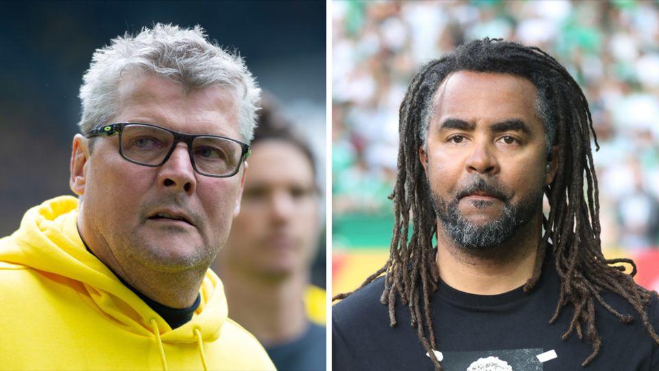 BVB-Stadionsprecher Norbert Dickel (l.) und Ex-Spieler Patrick Owomoyela haben das Testspiel gegen Udinese Calcio für BVB.tv kommentiert - und sich dabei wohl einiges geleistet