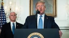 US-Präsident Donald Trump gibt ein Statement nach den Bluttaten in den USA ab