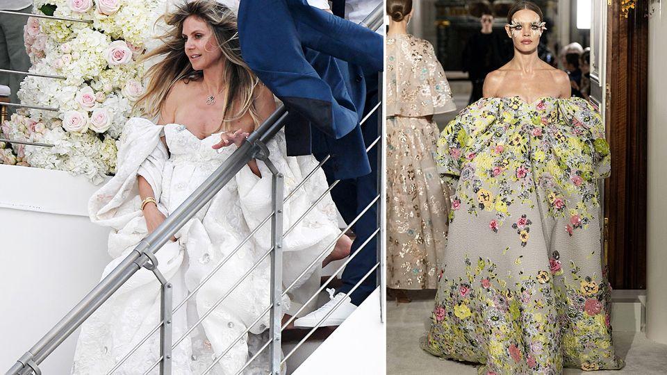 Heidi Klum in ihrem Hochzeitskleid und die Robe von Valentino