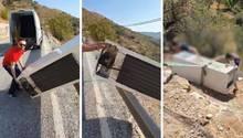 Umweltsünde mit bösen Folgen: Männer schmeißen Kühlschrank über Klippe