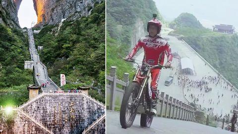 """""""Stairway to Heaven"""": Motorradfahrer bezwingt Treppe mit 999 Stufen"""