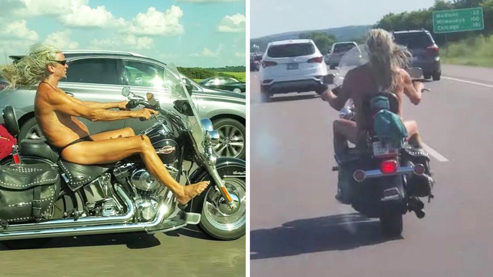 Nackter Biker auf Highway in Wisconsin, USA