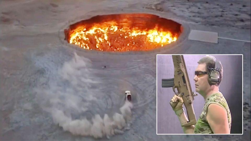 Turkmenistan Diktator fährt um Vulkankrater