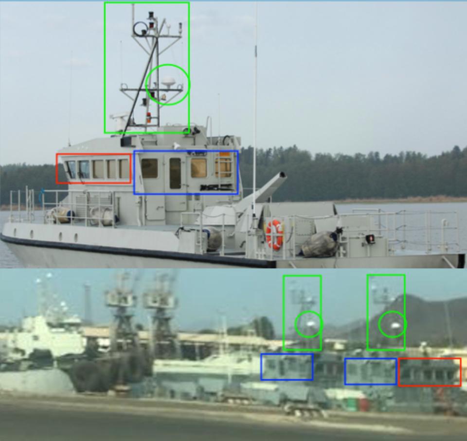 So ließen sich die Schnellboote des Typs Ghannatha in Assab durch den Vergleich mit einem Herstellerbild identifizieren