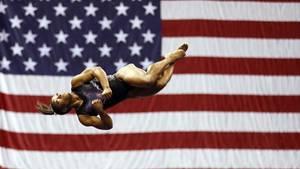 Simone Biles beim Aufwärmen bei den US Turnmeisterschaften in Kansas City