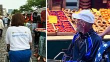 Melanie Meyer (links) schiebt den Rollstuhl von Dieter (rechts)
