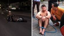 Australier tritt Mann von Motorroller