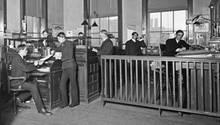 Männer in einem Büro in Michigan um 1903