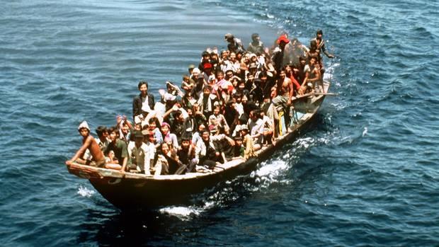 Boat People: Flüchtlinge aus Vietnam auf einem Boot